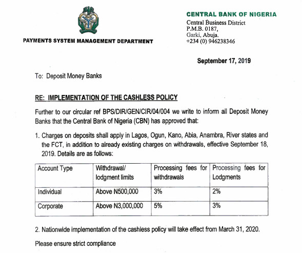 CBN new charges on cashless policy