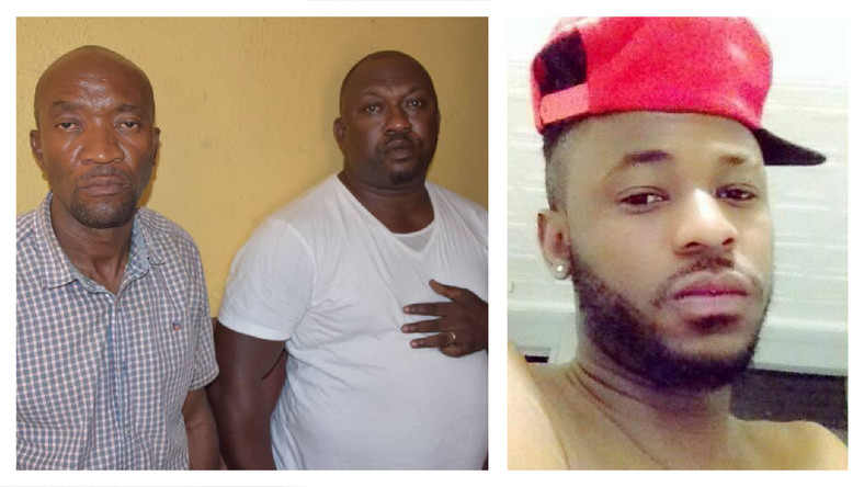 Inspector Ogunyemi Olalekan (middle) has been dismissed from the Force after he was found guilty of shooting and killing Kolade Johnson (right).  Sergeant Godwin Orji (left) has been found not guilty and acquitted [Facebook/Nigeria Police Force/Styles Kolade Johnson]