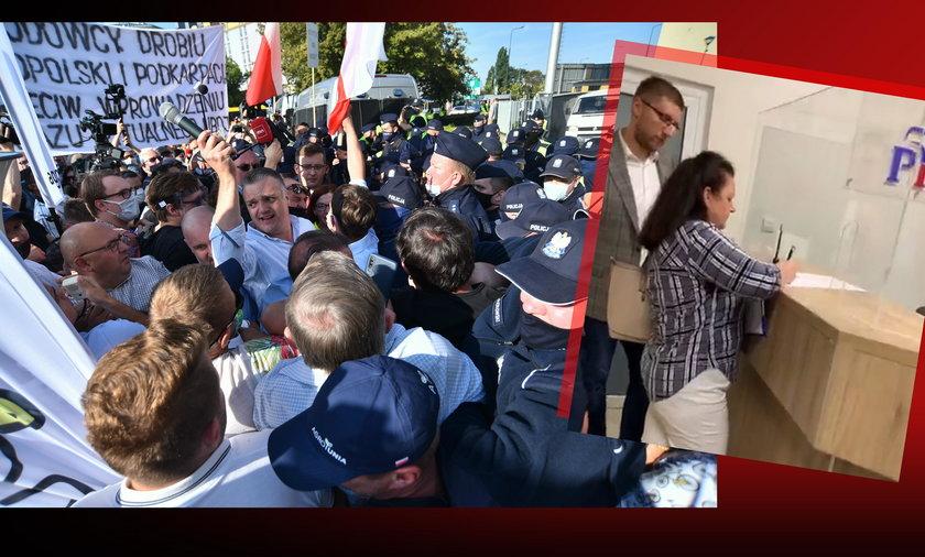 Gorąco na Nowogrodzkiej! Przepychanki z policją, Renata Beger penetruje siedzibę PiS