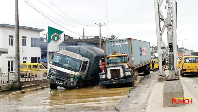 Bad roads are a recurring theme in Lagos (Punch)