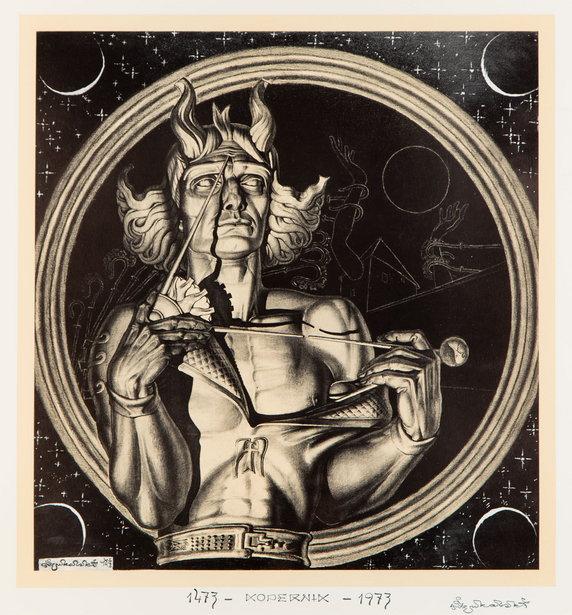 """Wystawa i aukcja """"Grafika artystyczna. Sztuka Dawna"""". Stanisław Szukalski, """"Kopernik"""" (1973)"""