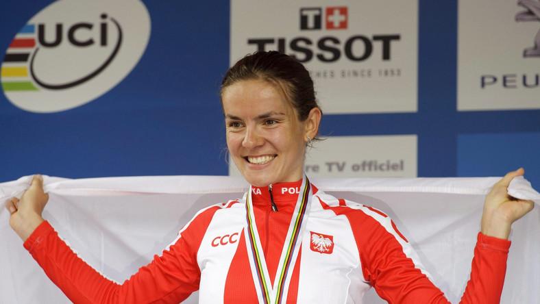 Maja Włoszczowska na podium w Champery