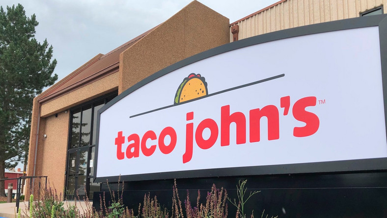 n this Aug. 1, 2019 photo the corporate headquarters of Cheyenne-based Taco John's, which has nearly 400 locations in 23 states, is seen in Cheyenne, Wyo.