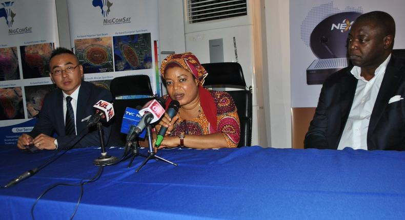 Dr. Abimbola Alale, Managing Director of NIGCOMSAT at the inauguration of NextTv Satellite Direct-to-Home platform in Abuja (Twitter/NIGCOMSAT)