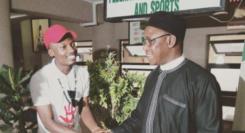 Efe Ejeba with Minister for Youth and sports, Solomon Dalung
