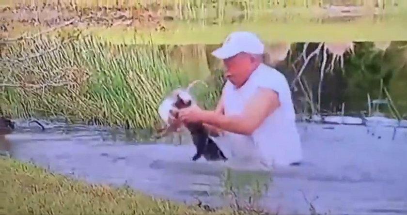 Niezwykły wyczyn emeryta. Tak walczył z aligatorem o życie szczeniaka!