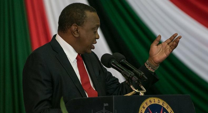 President Uhuru Kenyatta during a past address at KICC (PSCU)