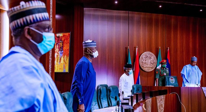 President Buhari's new Chief of Staff, Prof. Ibrahim Gambari (from left) at his first FEC meeting in 2020 [Twitter/@AmbAgboolaG]