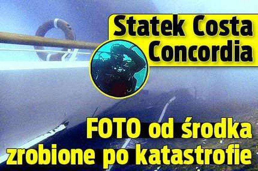 Statek Costa Concordia. FOTO od środka zrobione po katastrofie
