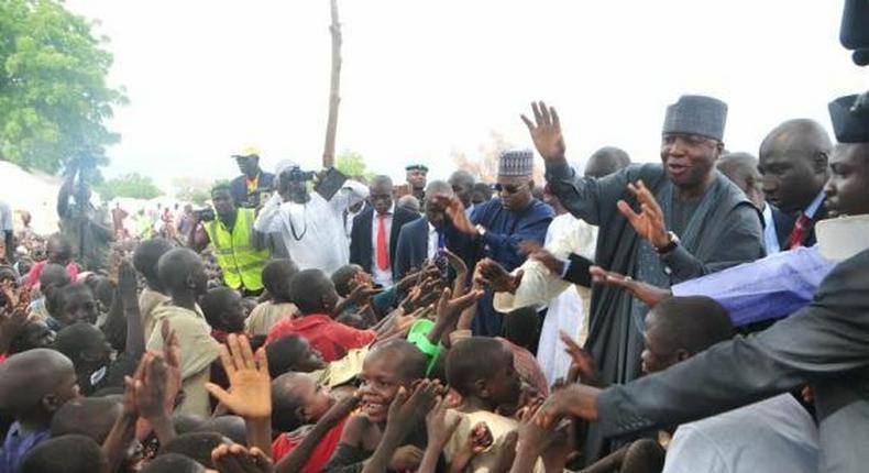 Senate President, Bukola Saraki visits IDPs in Maiduguri on August 3, 2015.