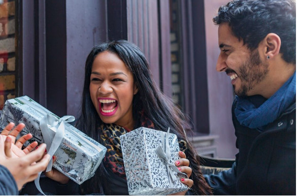 If your partner is one who gets excited when they get gifts, then ensure to always make them happy. [Credit: HuffPost Canada]