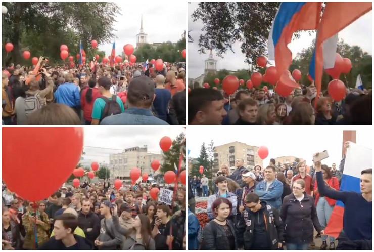 Rusija protest kolaž
