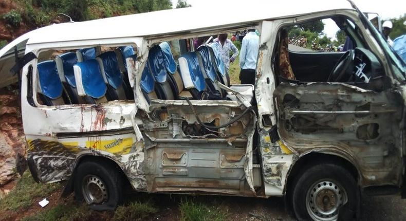 Wreckage of a matatu that was in an accident