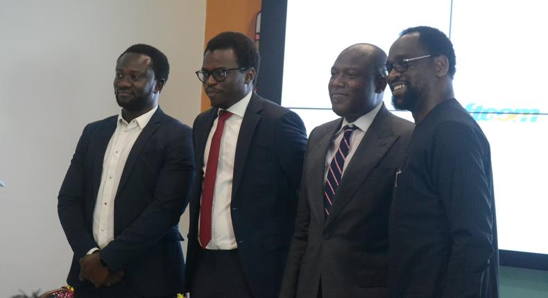 From left to right: Chief Executive Officer Softcom Limited, Yomi Adedeji; Chief Innovation Officer, Softcom Limited, Tomi Amao; Managing Director, Bank of Industry, Mr Olukayode Pitan; and Senior Special Assistant (SSA) to the President on Job creation, Mr Afolabi Imoukhuede, at the Softcom Conference on the role of technology in combating poverty and driving social change.
