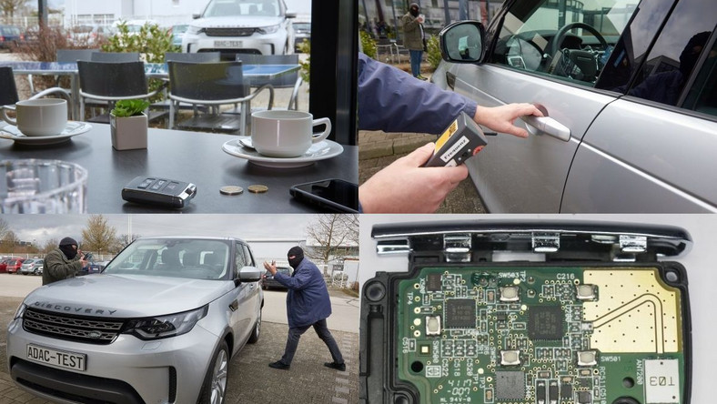 Chip zastosowany w systemie keyless nowego Discovery potrafi bardzo dokładnie sprawdzić, ile czasu zajmuje komunikacja pomiędzy kluczykiem a pojazdem. Jeśli łączenie trwa dłużej niż powinno, oznacza to, że sygnał jest wzmocniony/wydłużony (przez złodziei) i auto przestaje odpowiadać