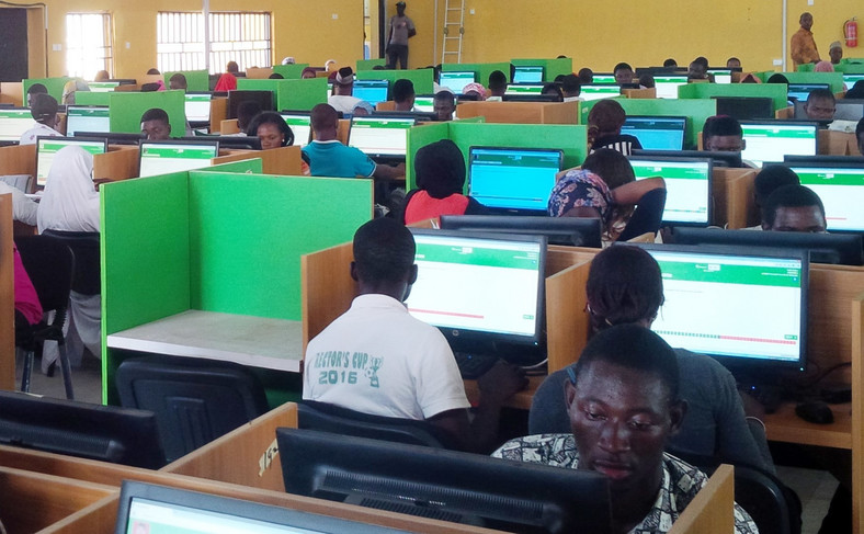 JAMB Candidiates in a CBT Centre during registration