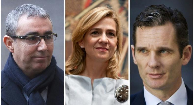 Combination of pictures created on February 15, 2017 shows (R-L) Spanish King Felipe's brother-in-law, Inaki Urdangarin, Spain's Princess Cristina, and Diego Torres, former partner of Spain's Duke of Palma