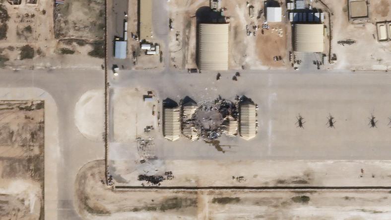Efekty irańskiego ataku na bazę Al-Asad w Iranie.