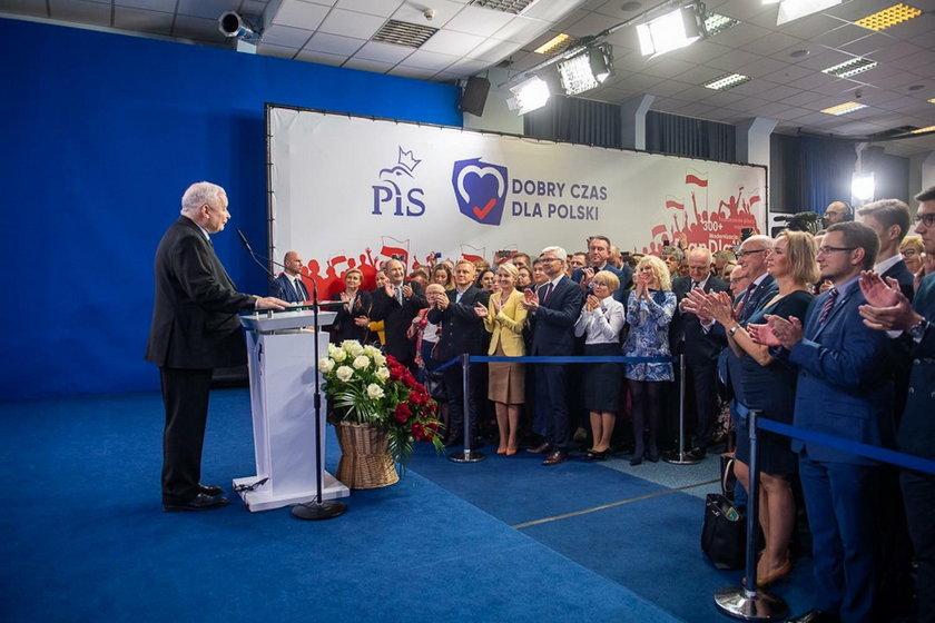 Prezes Jarosław Kaczyński po ogłoszeniu wyników wyborów
