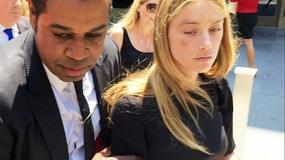 Pobita Amber Heard wychodzi z sądu