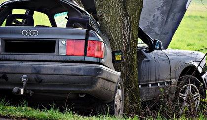 Młody kierowca zawinął się na drzewie. Był pijany