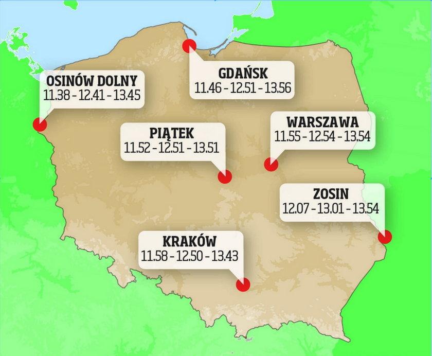 Zaćmienie słońca nad Polską - mapa