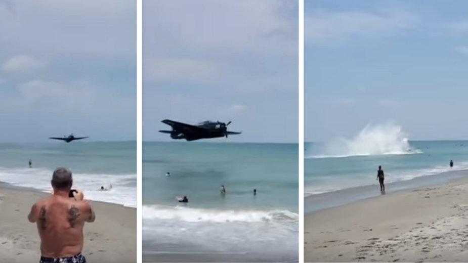 Samolot wojskowy podczas pokazów uderzył o taflę oceanu