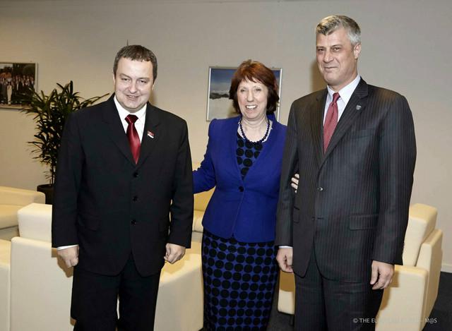 Ivica Dačić, Ketrin Ešton i Hašim Tači