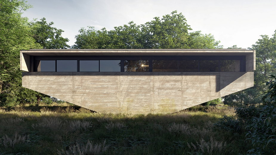 Jest jak betonowa łódź. Nietypowy dom projektu Adama Spychały