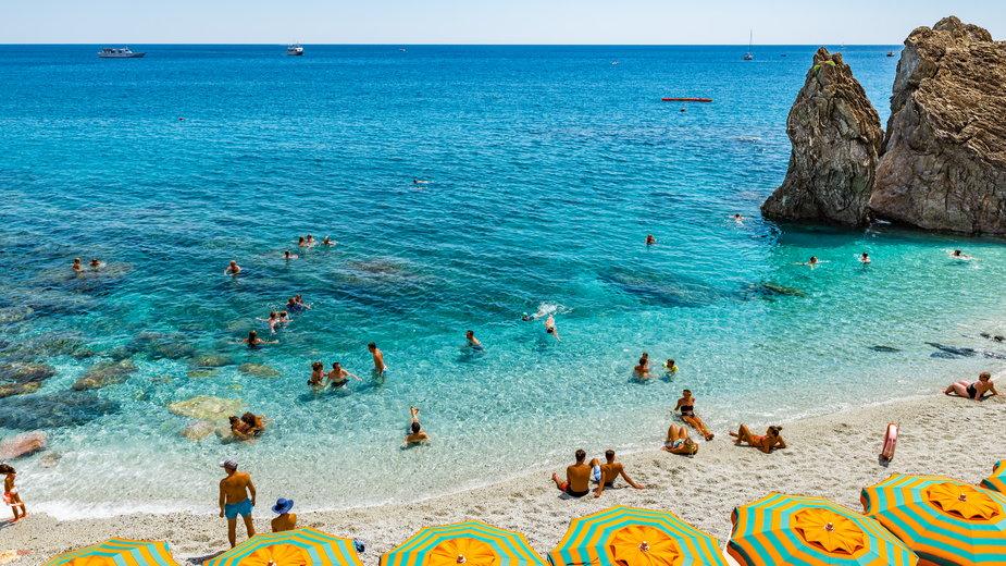 Plaża w Monterosso al Mare, Włochy