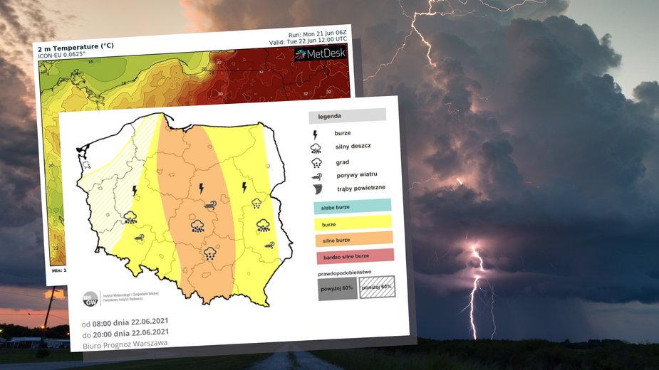Prognoza pogody na wtorek, 22 czerwca. Kolejne burze i zmiana temperatury