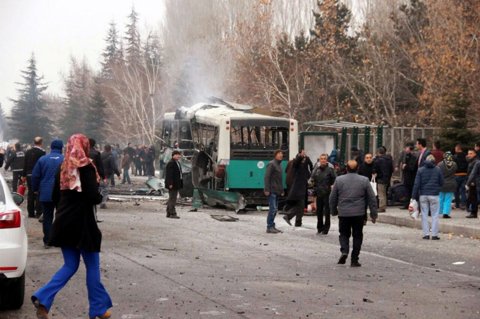 TURKEY BOMB ATTACK  (At least 13 soldiers were killed in an explosion in Kayseri)