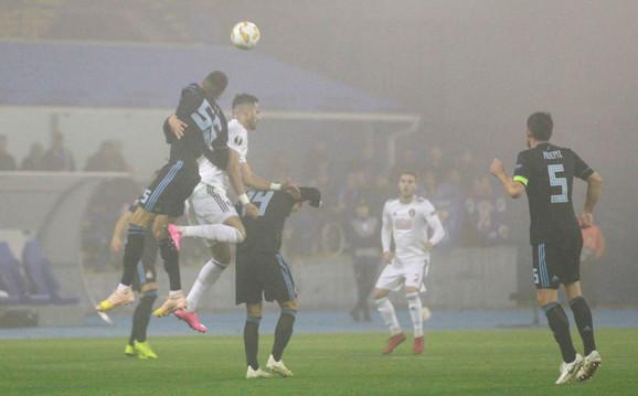 Detalj sa meča Dinamo Zagreb - Spartak Trnava, koji je odigran po magli
