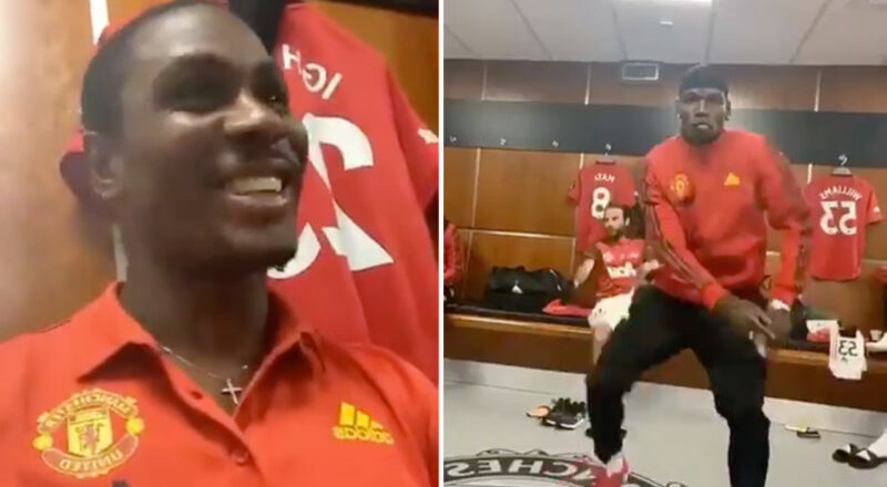 A new video shows Odion Ighalo and Paul Pogba dancing to a Wizkid song in Manchester United's dressing room