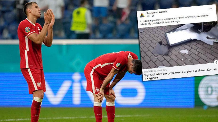 Mieszkaniec Kościana wyrzucił przez okno telewizor po przegranym meczu ze Szwecją. Na zdjęciu Robert Lewandowski i Jan Bednarek