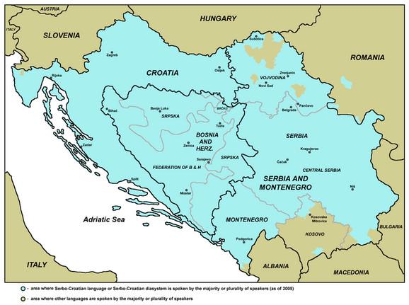Mapa teritorije na kojoj se govori jednim jezikom