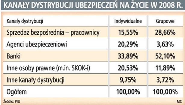 Kanały dystrybucji ubezpieczeń na życie w 2008 r.