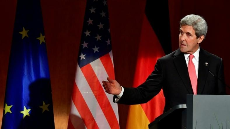 US Secretary of State John Kerry delivers a speech at the German foreign ministry on December 5, 2016 in Berlin