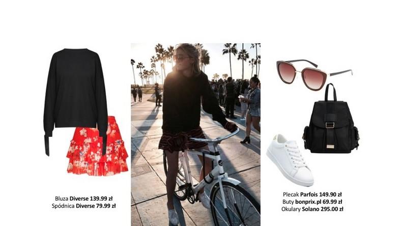 Podczas rowerowej wycieczki najlepiej wybrać, nieutrudniające ruchu elementy garderoby i zestawić je z klasycznymi, bluzami, które zapewnią ciepło wiosennym wieczorem.