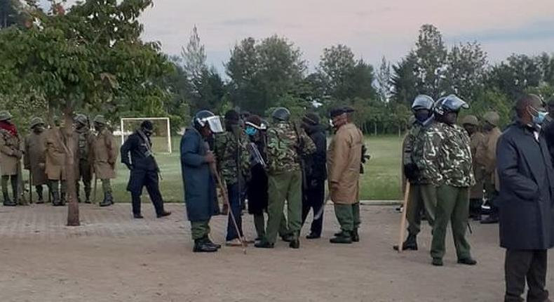 A contingent of police camped outside Kapsaret MP Oscar Sudi's home