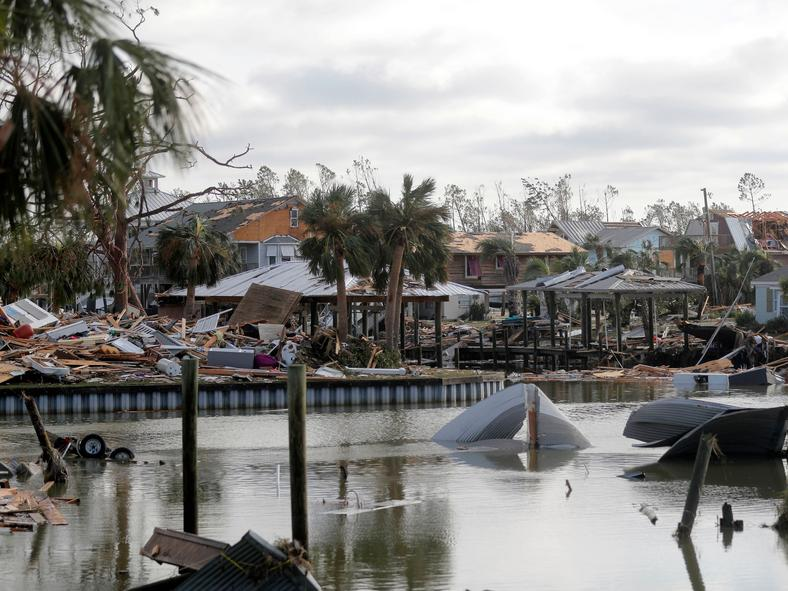 Debris scatters an area in the aftermath of Hurricane Michael in Mexico Beach, Florida, on October 11, 2018.