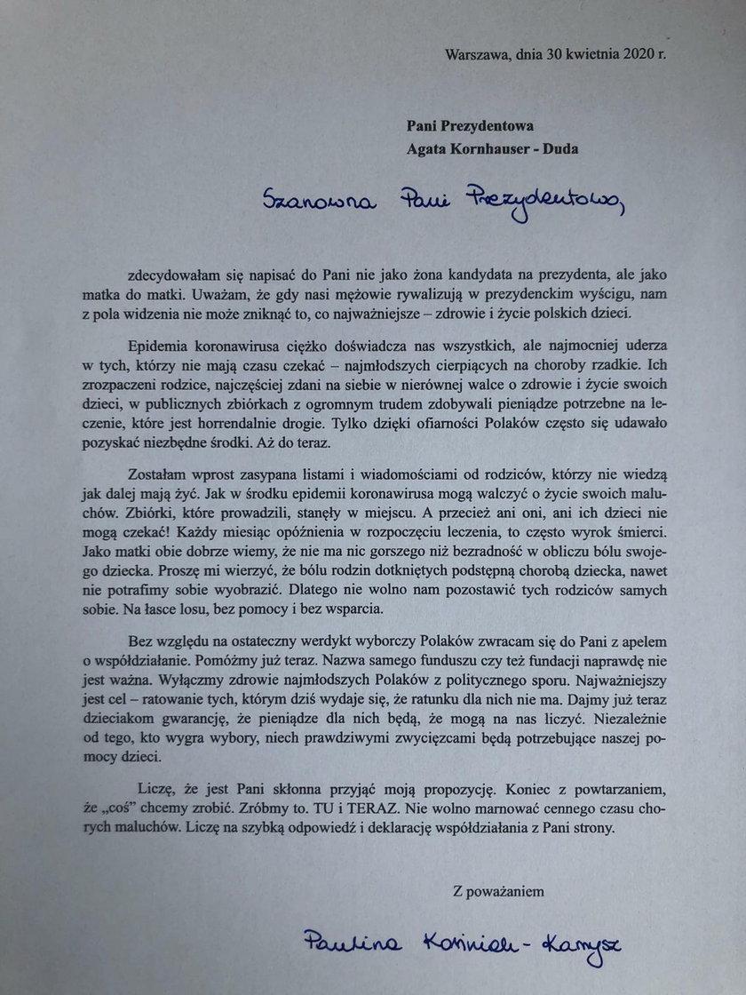 List Pauliny Kosiniak-Kamysz