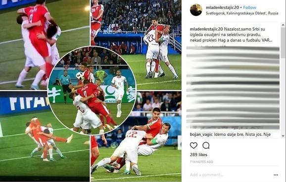 Objava Mladena Krstajića na Instagramu