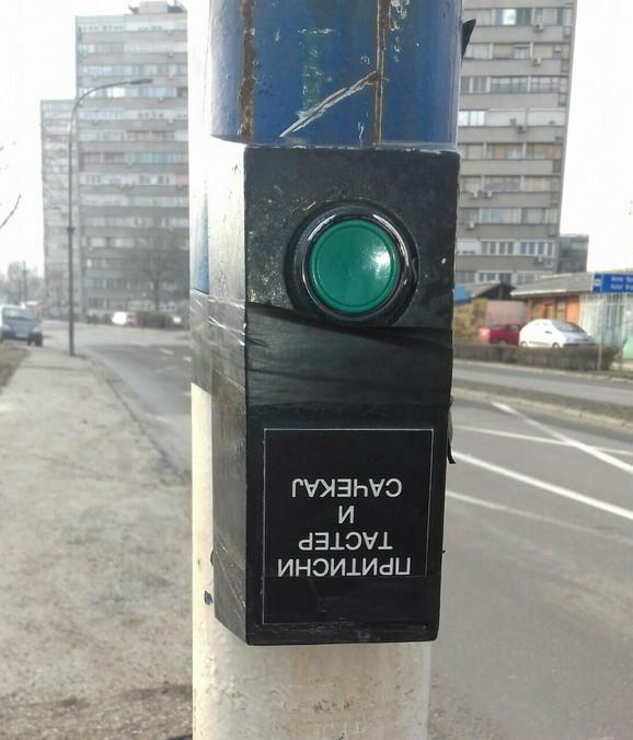 Taster na semaforu u prvobitnom stanju