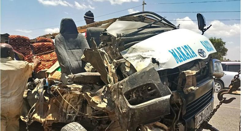 Wreckage of the vehicle that was involved in accident along Kangundo-Nairobi road