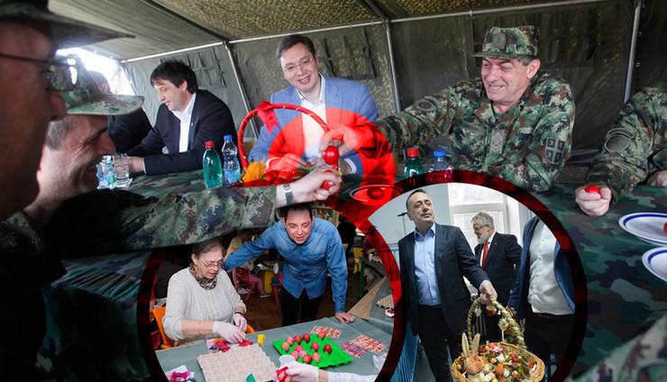 uskrs politicari kombo RAS Djordje Kojadinovic, Petar markovic, Tanjug Zoran Zestic