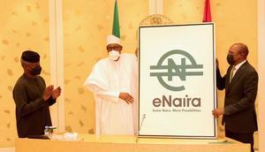 L-R: Vice President Yemi Osinbajo; President Muhammadu Buhari; and CBN Governor, Godwin Emefiele at the launch of e-Naira [Presidency]