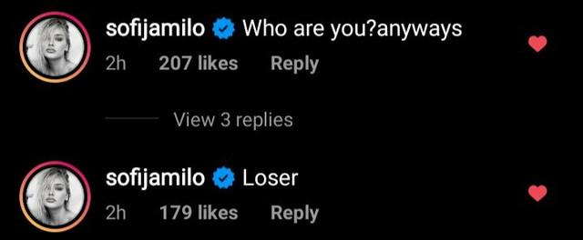 Instagram komentari Sofije Milošević
