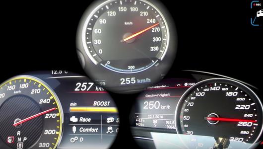 Audi RS 7 vs Merc-AMG E 63 vs BMW M5 - przyspieszenie i vmax