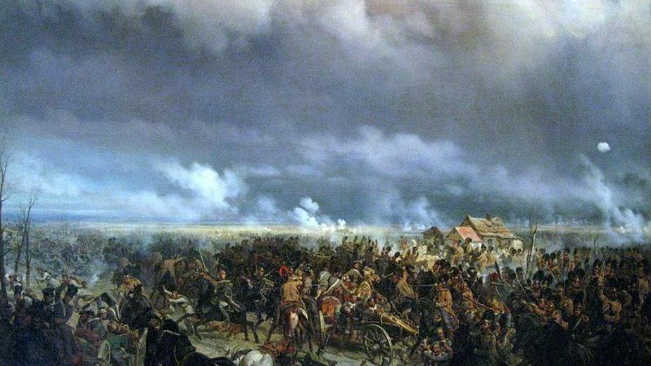 Bitwa pod Grochowem w 1831 roku, obraz Bogdana Willewalde z ok. 1850 roku - domena publiczna